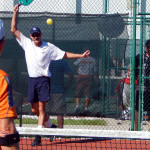 Backhand at Men's Doubles Pickleball Tournament 50+ Tampa Bay Senior Games 2013, Sun City Center, FL [DAY TWO: Saturday, October 26, 2013]