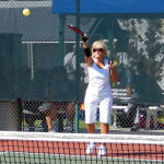 Ball hit in Womens Pickleball Tournament Tampa Bay Senior Games 2013 Sun City Center