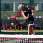 Diane playing in Womens Doubles Pickleball Tournament Tampa Bay Senior Games 2013 Sun City Center FL