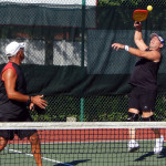 JUMP SHOT Frank Terlitz and Rob Denmark in Men's Doubles Pickleball Tournament 50+ Tampa Bay Senior Games 2013, Sun City Center, FL [DAY TWO: Saturday, October 26, 2013]