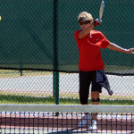 ACTION SHOT 1st place Kandy Aker in 65 Plus Pickleball Tournament at Tampa Bay Senior Games 2013, Sun City Center, FL [DAY ONE: Friday, October 25, 2013]