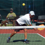 Overhead slam in Men's Doubles Pickleball Tournament 50+ Tampa Bay Senior Games 2013, Sun City Center, FL [DAY TWO: Saturday, October 26, 2013]