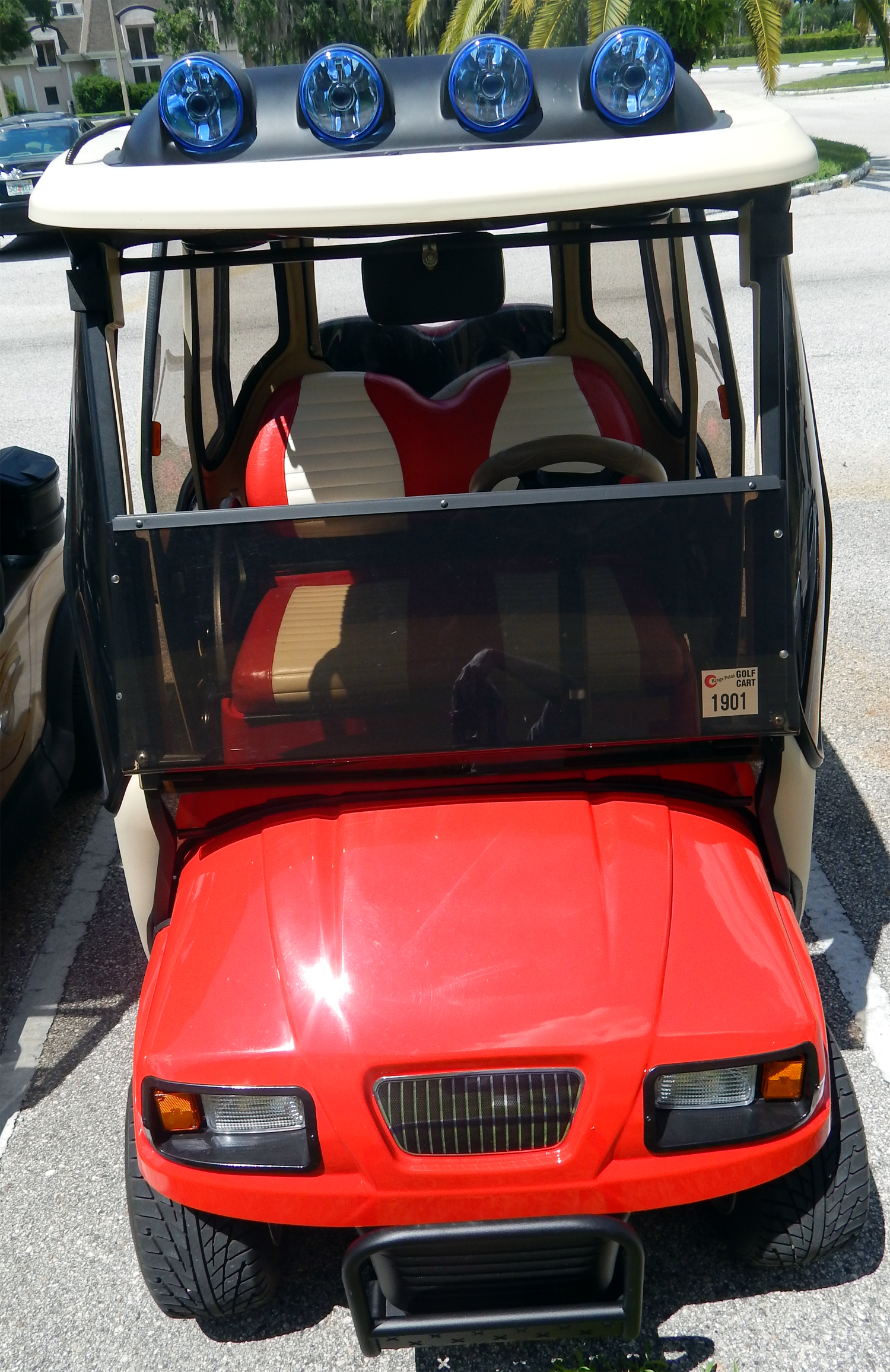 red ford truck club car golf cart with off the road light bar in sun city center fl. Black Bedroom Furniture Sets. Home Design Ideas