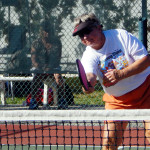 Return ball in Womens Pickleball Tournament Tampa Bay Senior Games 2013 Sun City Center