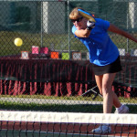 Serving ball in Womens Doubles Pickleball Tournament Tampa Bay Senior Games 2013 Sun City Center
