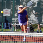 Serving in Womens Doubles Pickleball Tournament Tampa Bay Senior Games 2013 Sun City Center