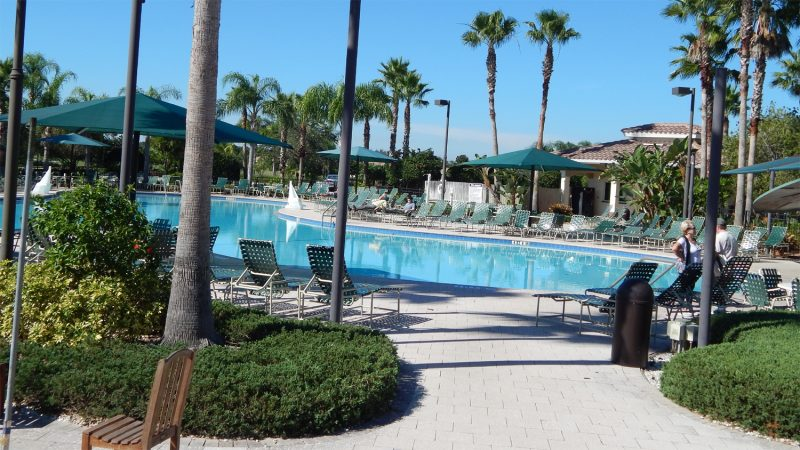 a somber outdoor pool at Kings Point South Clubhouse on Thanksgiving 2013