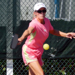 ball backhanded in Womens Pickleball Tournament Tampa Bay Senior Games 2013 Sun City Center