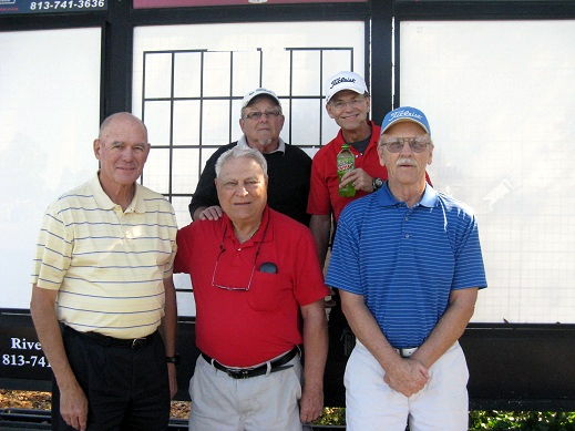 Back Row L to R Tom Rosata and Joe Danielson, Front Row L to R Doug Banning, Vic Scodese, and Dan Stephens | Hogans Golf Club of Sun City Center and Kings Point [Submitted by Pam Jones]